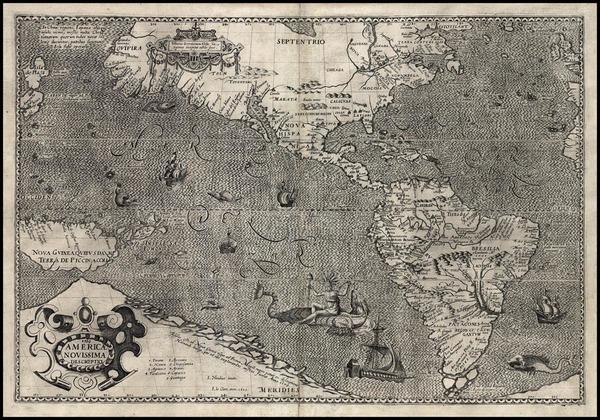 28-World, Western Hemisphere, Polar Maps, South America, Pacific and America Map By Jodocus Hondiu