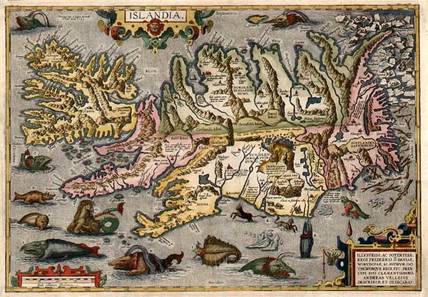 41-World, Atlantic Ocean, Europe, Iceland and Balearic Islands Map By Abraham Ortelius