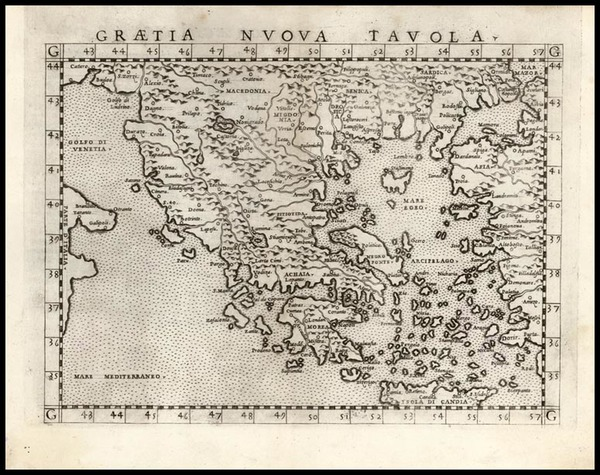 1-Europe, Balkans, Greece and Balearic Islands Map By Girolamo Ruscelli