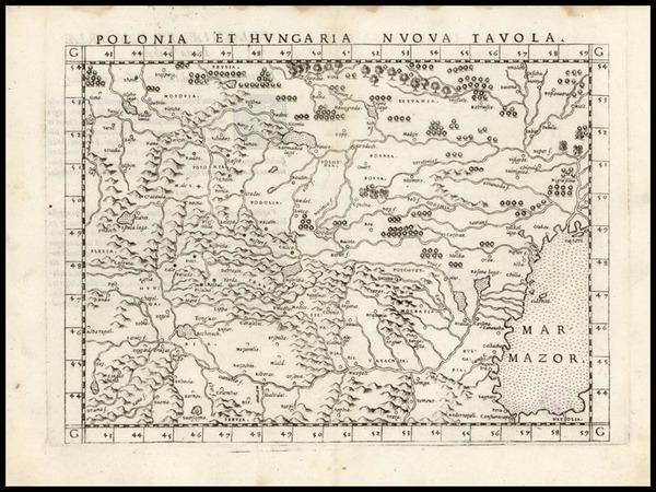 0-Europe, Poland, Hungary, Baltic Countries and Balkans Map By Girolamo Ruscelli