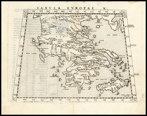 76-Europe, Greece and Balearic Islands Map By Girolamo Ruscelli