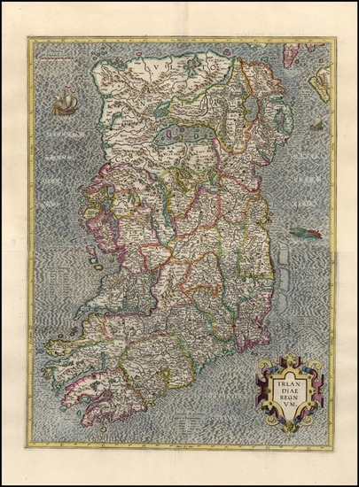 61-Ireland Map By Gerhard Mercator