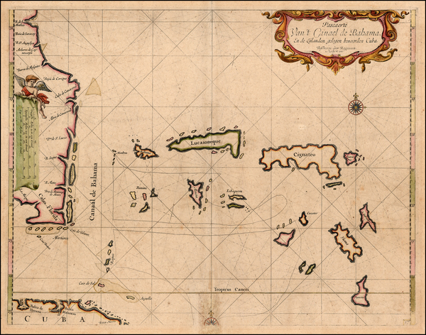 28-Florida, Southeast and Caribbean Map By Arent Roggeveen / Jacobus Robijn