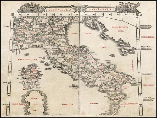 64-Europe and Italy Map By Bernardus Sylvanus