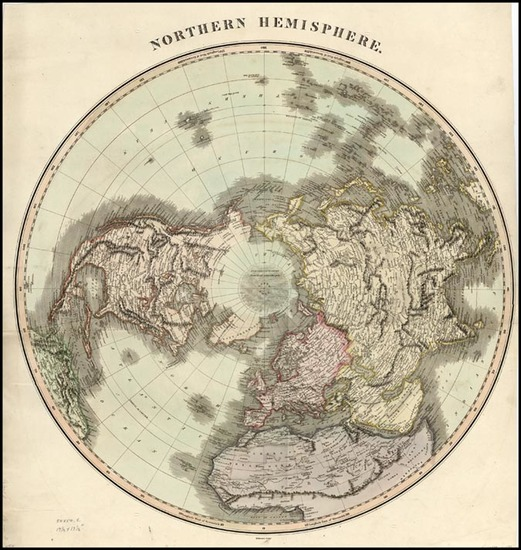 64-World, Northern Hemisphere, Polar Maps, Alaska and North America Map By John Thomson