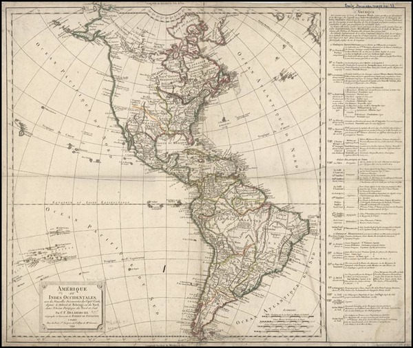 73-South America and America Map By Didier Robert de Vaugondy / Charles Francois Delamarche
