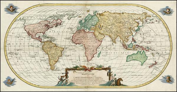 55-World, World, Hawaii, Pacific and Hawaii Map By Johann Michael Probst