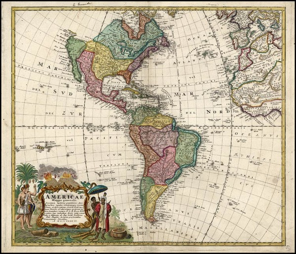 60-World, Western Hemisphere, South America and America Map By Homann Heirs