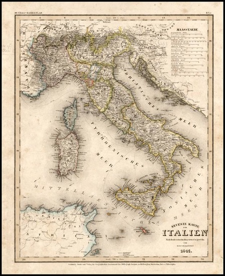 32-Europe and Italy Map By Joseph Meyer