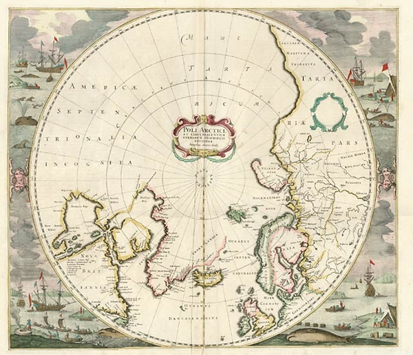 56-Northern Hemisphere and Polar Maps Map By Henricus Hondius