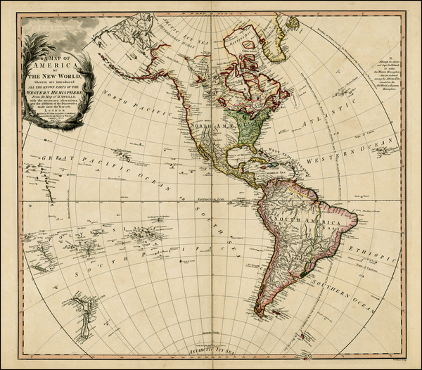 100-World, Western Hemisphere, South America and America Map By William Faden