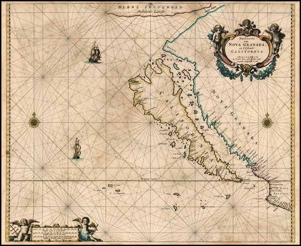 100-World, Southwest, Pacific and California Map By Pieter Goos