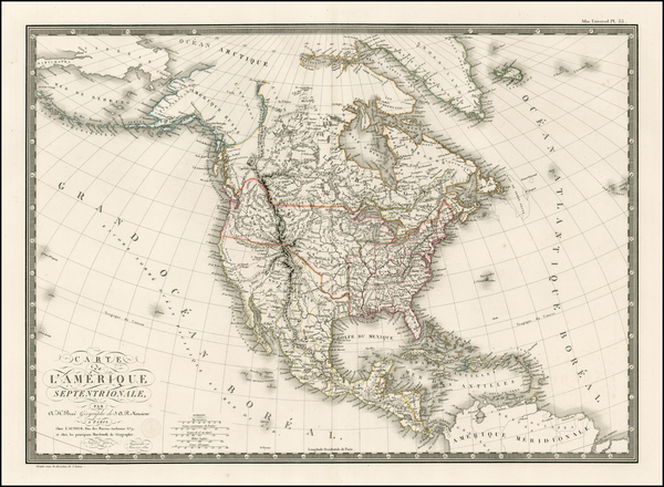 82-North America Map By Adrien-Hubert Brué