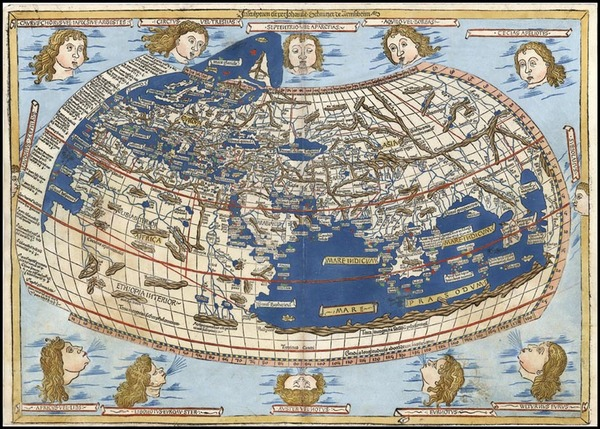 13-World and World Map By Claudius Ptolemy / Lienhart Holle