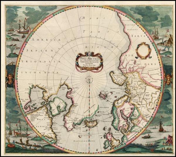 72-Northern Hemisphere and Polar Maps Map By Henricus Hondius
