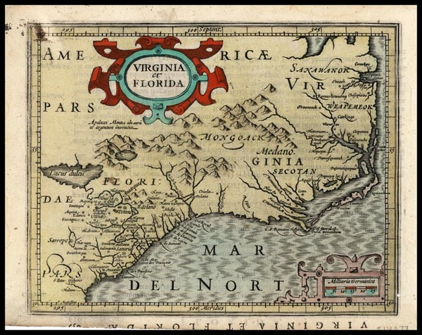 62-Mid-Atlantic and Southeast Map By Henricus Hondius  &  Gerhard Mercator
