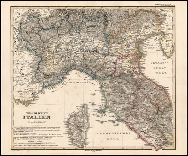 28-Europe and Italy Map By Adolf Stieler