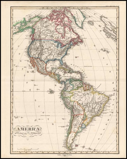 56-South America and America Map By F. Von Stulpnagel  &  Adolf Stieler