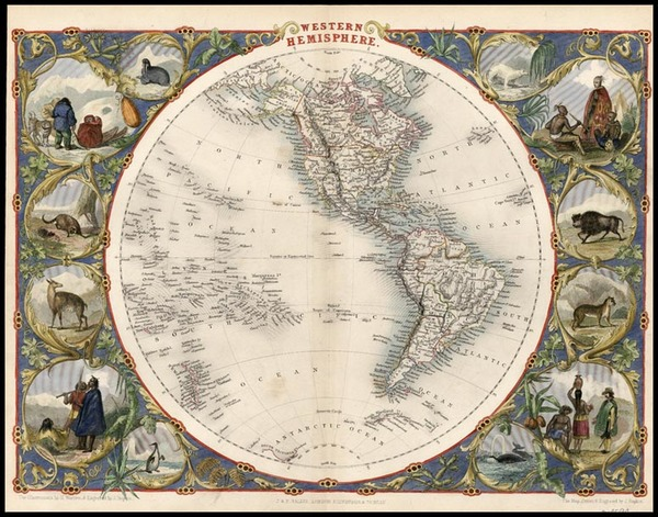 29-World, World, Western Hemisphere, South America and America Map By John Tallis