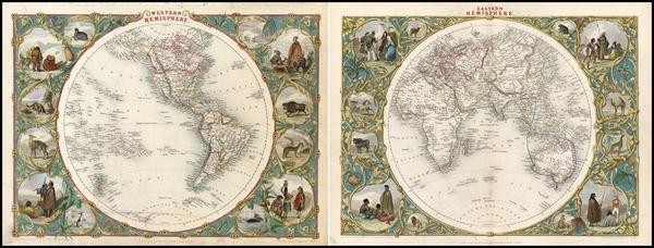 52-World, World, Eastern Hemisphere, Western Hemisphere, South America and America Map By John Tal