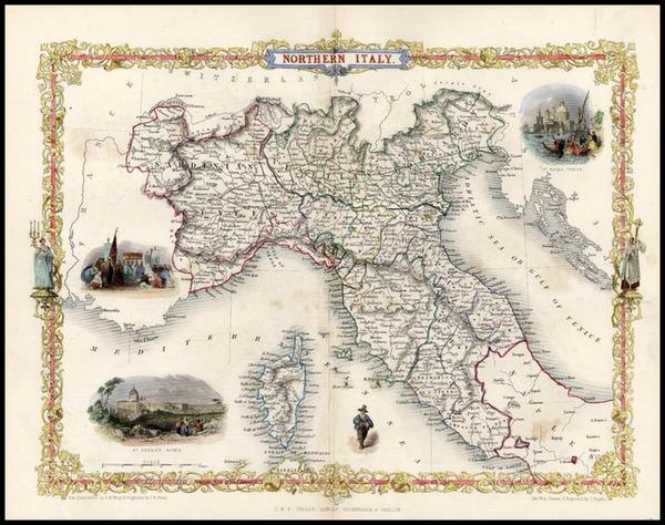 56-Italy, Mediterranean and Balearic Islands Map By John Tallis