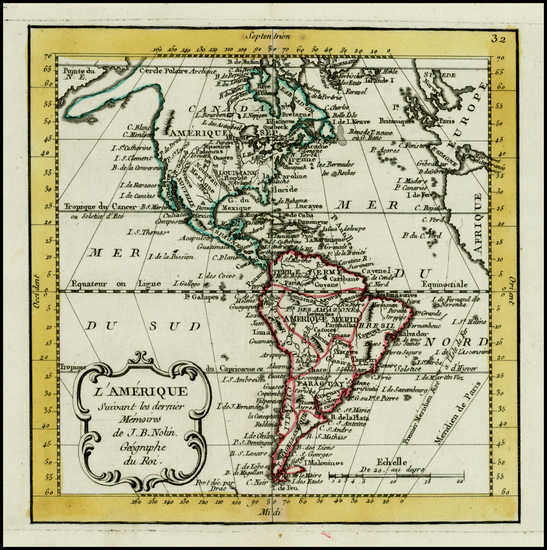 12-South America and America Map By Jean-Baptiste Nolin
