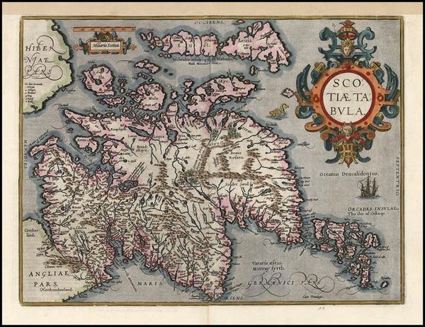 28-Scotland Map By Abraham Ortelius
