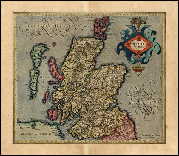 59-Scotland Map By Jodocus Hondius / Gerhard Mercator