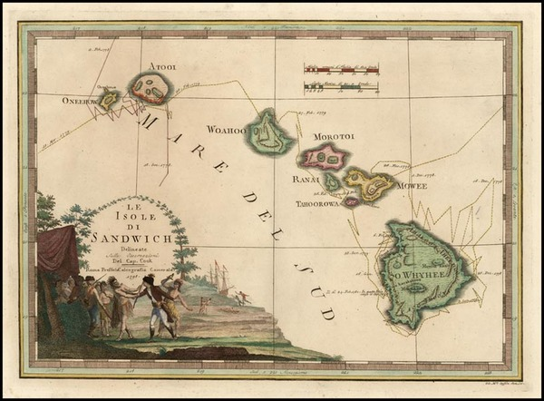 71-Hawaii, Australia & Oceania, Hawaii and Other Pacific Islands Map By Giovanni Maria Cassini