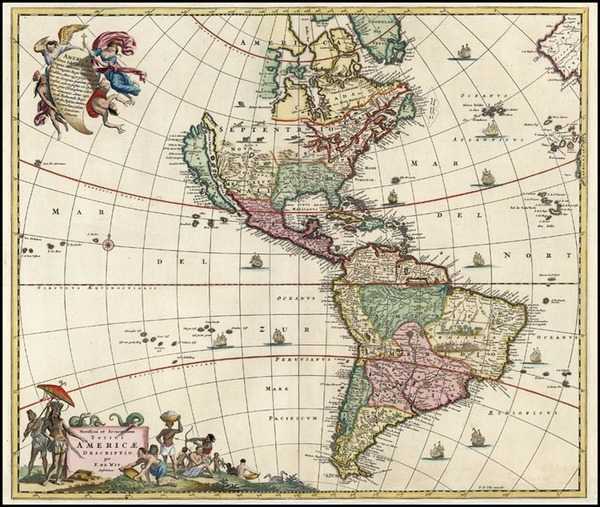 20-South America and America Map By Frederick De Wit