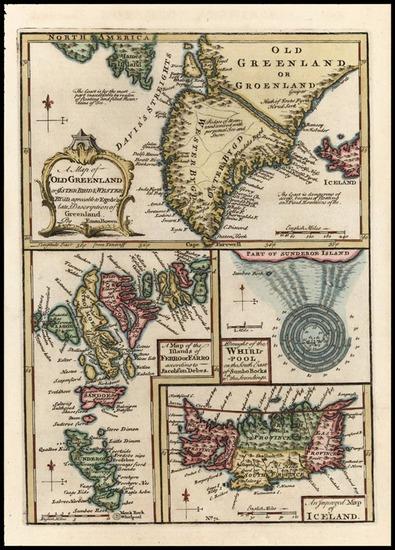 76-World, Atlantic Ocean, Europe, Scandinavia and Balearic Islands Map By Emanuel Bowen