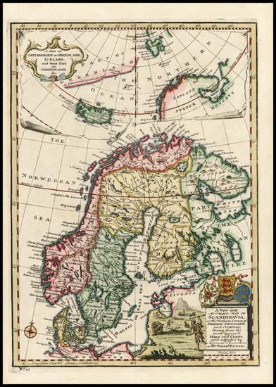 79-World, Atlantic Ocean, Europe, Scandinavia and Balearic Islands Map By Emanuel Bowen