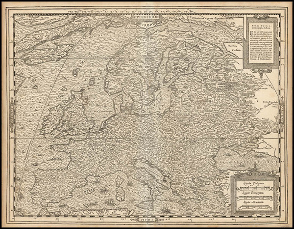 55-World, Atlantic Ocean, Europe, Europe and Balearic Islands Map By Andre Thevet