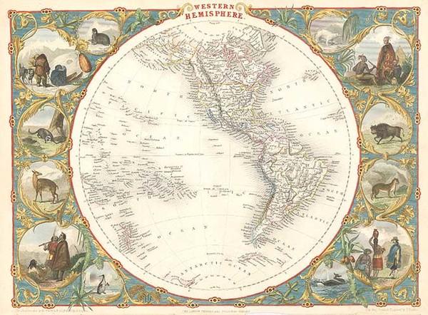 28-World, World, Western Hemisphere, South America and America Map By John Tallis