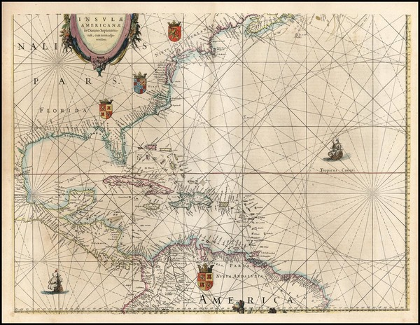 27-Mid-Atlantic, Southeast and Caribbean Map By Willem Janszoon Blaeu