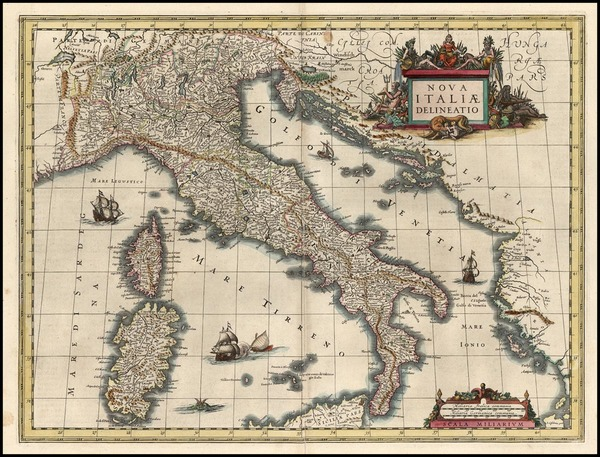 95-Europe, Italy and Balearic Islands Map By Willem Janszoon Blaeu