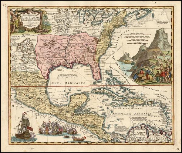 43-South, Southeast, Texas and Midwest Map By Johann Baptist Homann
