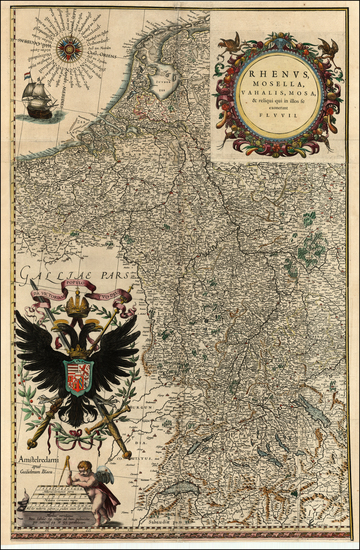 4-Europe, Netherlands, Switzerland, Germany, Austria and Hungary Map By Willem Janszoon Blaeu