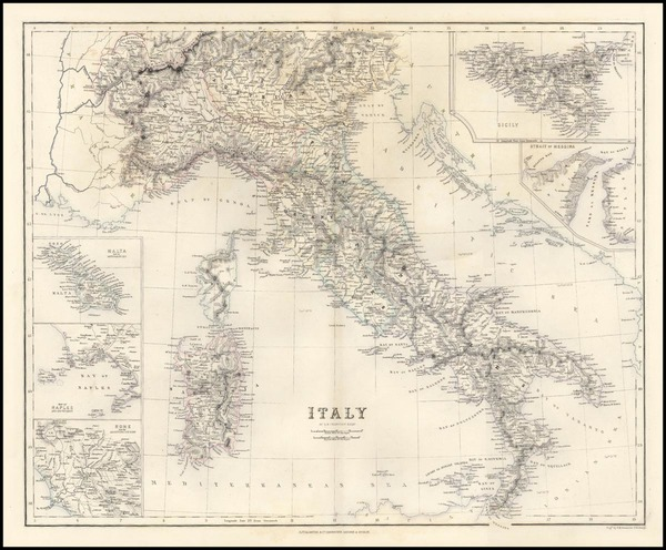 41-Europe, Italy and Balearic Islands Map By A Fullerton & Co.