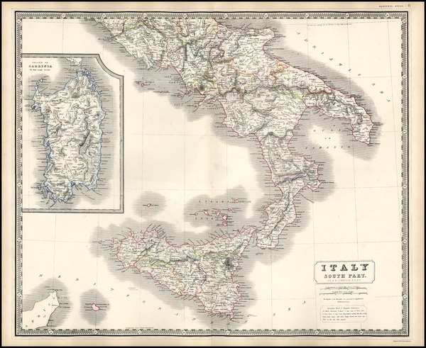 0-Europe, Italy and Balearic Islands Map By W. & A.K. Johnston