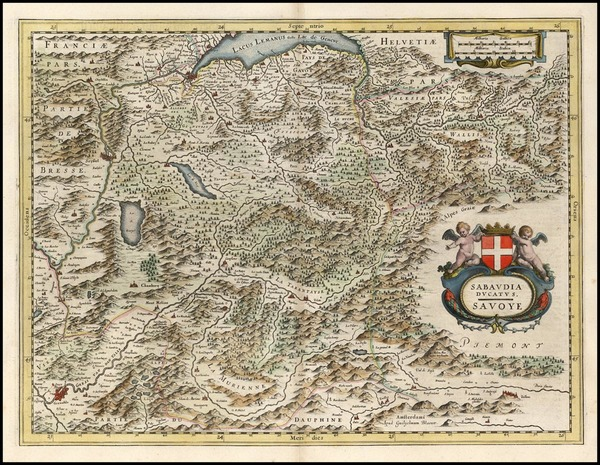 84-Europe, Switzerland, France and Italy Map By Willem Janszoon Blaeu