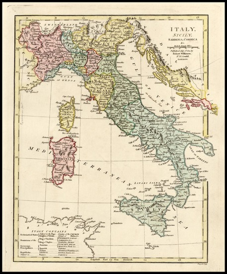 72-Europe, Italy and Balearic Islands Map By Robert Wilkinson