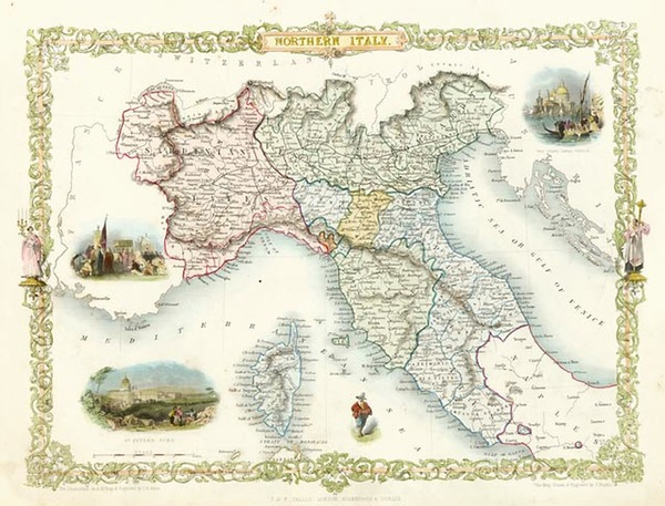 34-Europe, Italy, Mediterranean and Balearic Islands Map By John Tallis