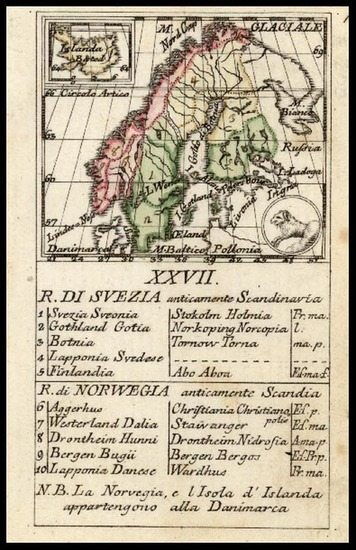 46-Europe, Scandinavia, Iceland and Balearic Islands Map By Giovanni de Baillou de Baillou / Agost