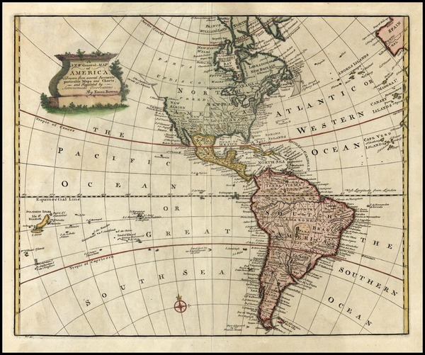 6-South America and America Map By Emanuel Bowen