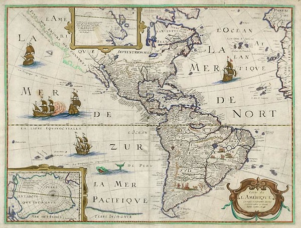 68-South America and America Map By Petrus Bertius