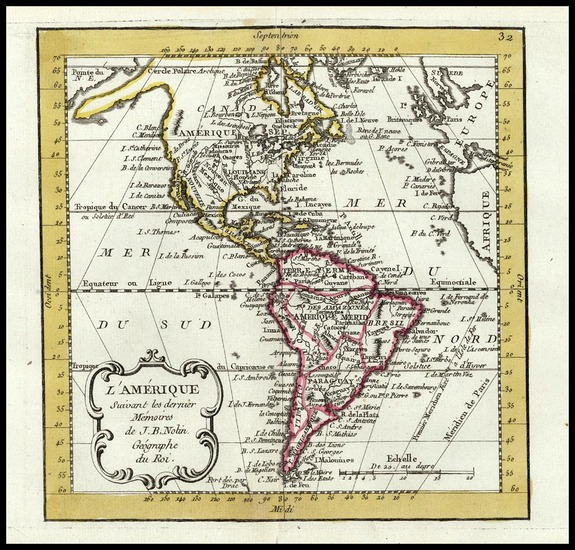 26-South America and America Map By Jean-Baptiste Nolin