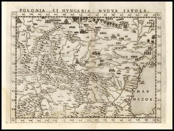 79-Europe, Poland, Hungary, Czech Republic & Slovakia and Balkans Map By Girolamo Ruscelli