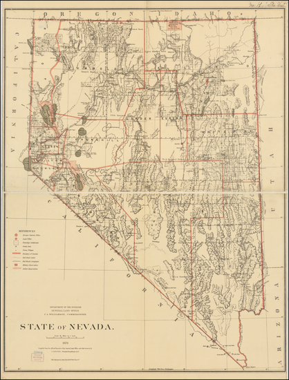 Southwest, Nevada and California Map By General Land Office