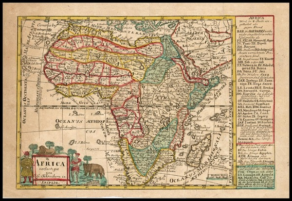 76-Africa and Africa Map By Johann George Schreiber